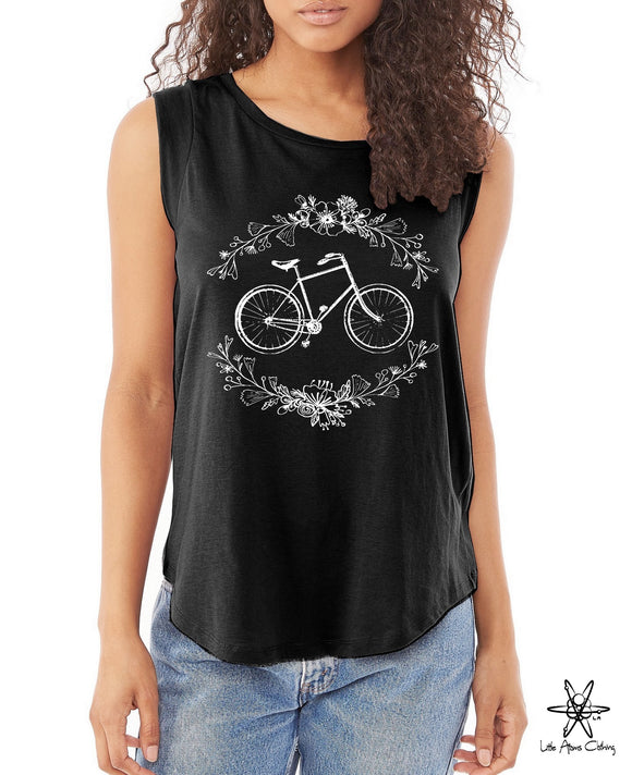 Bike Botanical Shirt Cap Sleeve Tee
