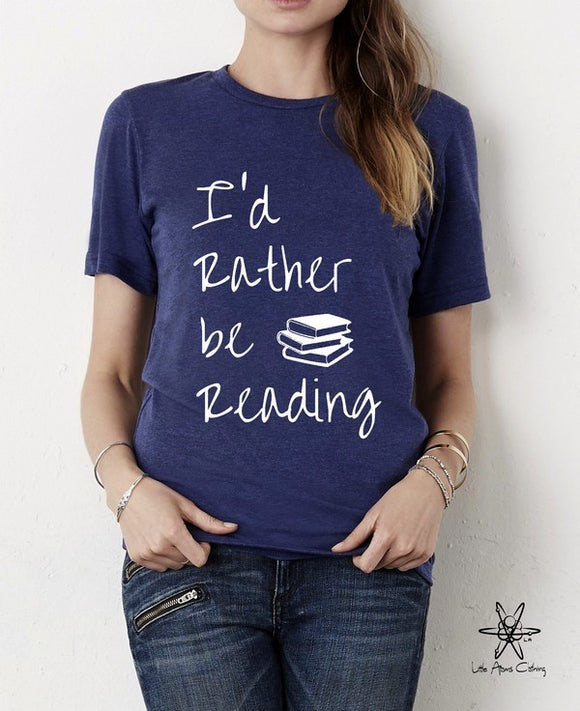 I'd Rather be Reading shirt Unisex Crew Tri Blend tee shirt
