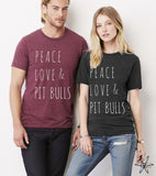 Peace Love and Pit bulls shirt Unisex Crew Tri Blend tee shirt