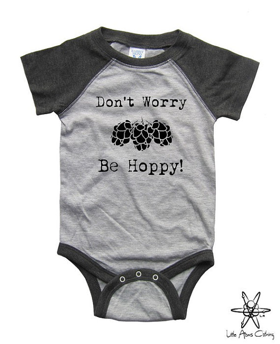 Don't Worry Be Hoppy Raglan Bodysuit