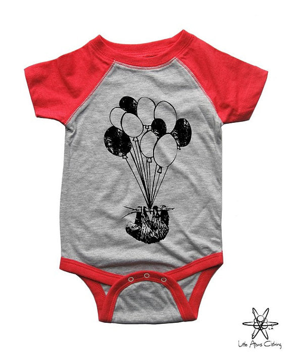 Sloth On Balloons Raglan Bodysuit
