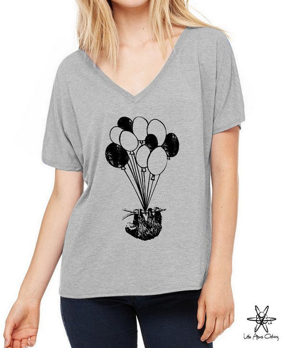Sloth On Balloons Slouchy V Neck Shirt