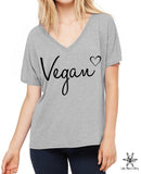 Vegan Heart  Slouchy V Neck Shirt