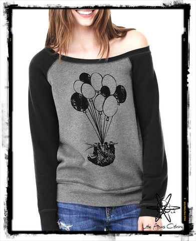 Sloth on Balloons Wideneck Sweatshirt