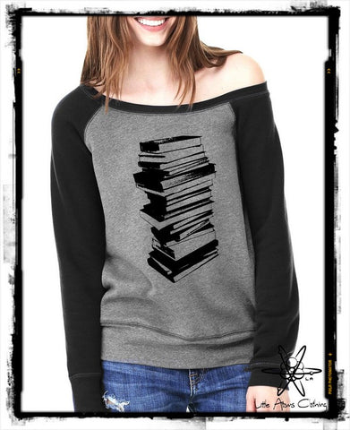 Stack of Books Wideneck Sweatshirt