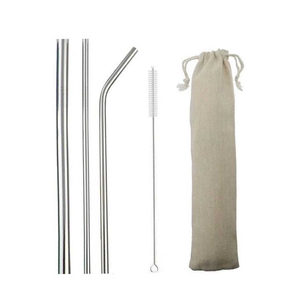 Stainless Steel Straws Bent - Set of 3