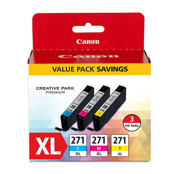 Canon 0337C005 (CLI-271XL) High Yield 3-Color (CMY) Ink Cartridge Value Pack (10.8ml)