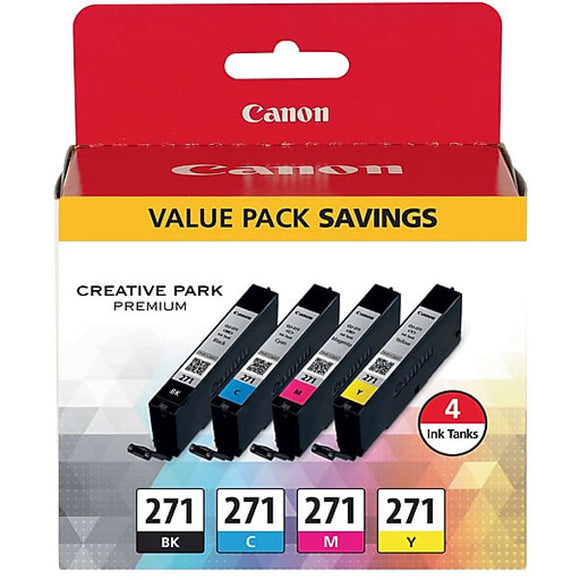 Canon 0390C005 (CLI-271) 4-Color (BK/CMY) Ink Cartridge Value Pack