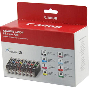 Canon 0620B015 (CLI-8) BK/C/M/Y/PC/PM/R/G Color Ink Combo Pack (Includes 1 Each of OEM# 0620B002 0621B002 0622B002 0623B002 0624B002 0625B002 0626B002 0627B002)
