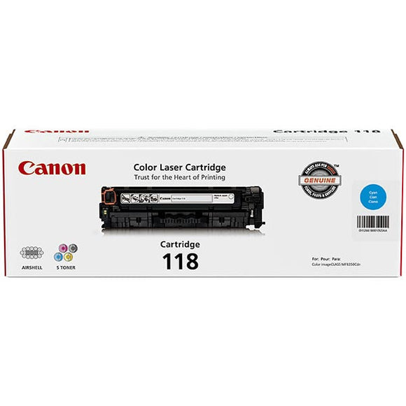 Canon 2661B001AA (CRG-118C) Cyan Toner Cartridge (2,900 Yield) - Technology Inks Pro, LLC.