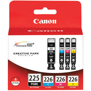 Canon 4530B008 (PGI-225BK/CLI-226C/M/Y) Color Ink Tank Multipack (Includes 1 Each of OEM# 4530B001 4547B001 4548B001 4549B001)