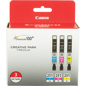Canon 6449B009 (CLI-251) XL 3 Color Ink Cartridge Multi Pack Includes C/M/Y