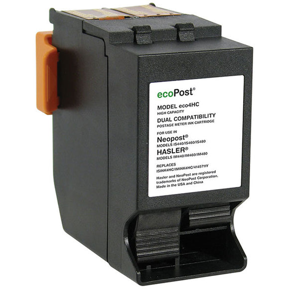 ecoPost ECO4HC Remanufactured Red Postage Meter Ink Cartridge (Alternative for NeoPost ISINK4HC IMINK4HC 4145711Y) (19,500 Yield)