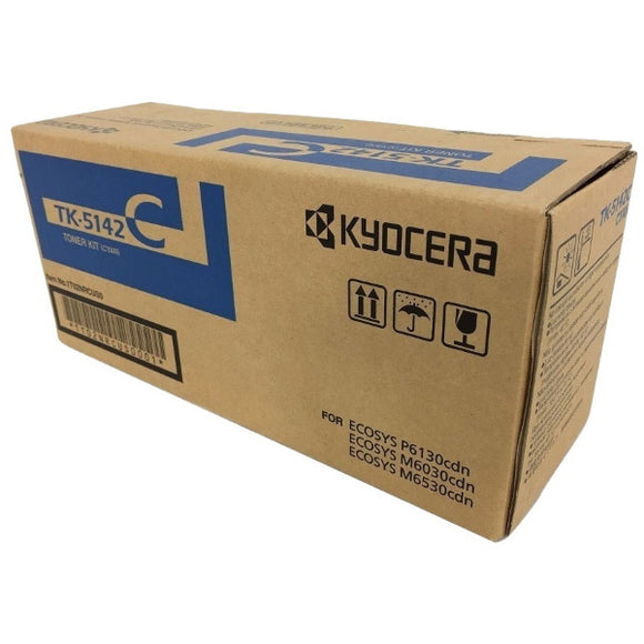 Kyocera TK-5142C Cyan Toner Cartridge Includes Waste Container (5,000 Yield)