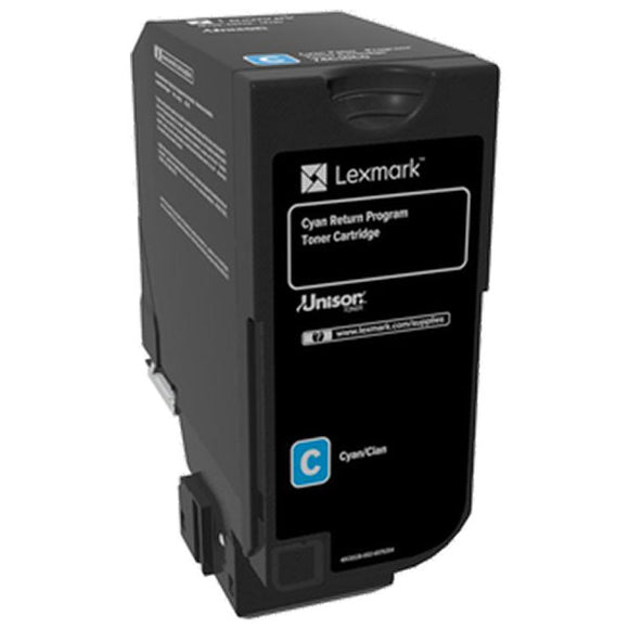Lexmark 74C00CG Cyan Return Program Toner Cartridge for US Government (3,000 Yield) (TAA Compliant Version of 74C10C0)