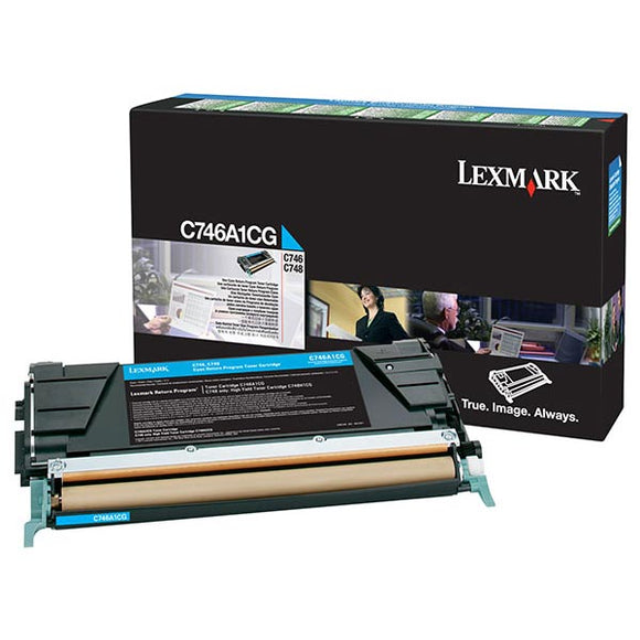 Lexmark C746A4CG Cyan Return Program Toner Cartridge for US Government (7,000 Yield) (TAA Compliant Version of C746A1CG)