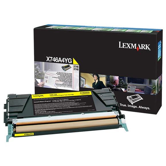 Lexmark X746A4YG Yellow Return Program Toner Cartridge for US Government (7,000 Yield) (TAA Compliant Version of X746A1YG)