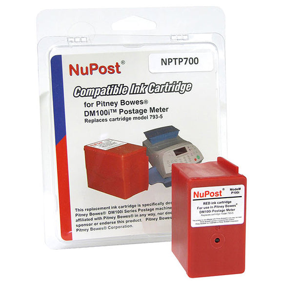 NuPost NPTP700 Non-OEM New Build Red Postage Meter Ink Cartridge (Alternative for Pitney Bowes 793-5) (3,000 Yield)