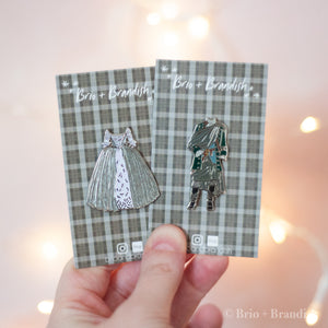 Jamie and Claire Wedding Outfits 2 Pin Set