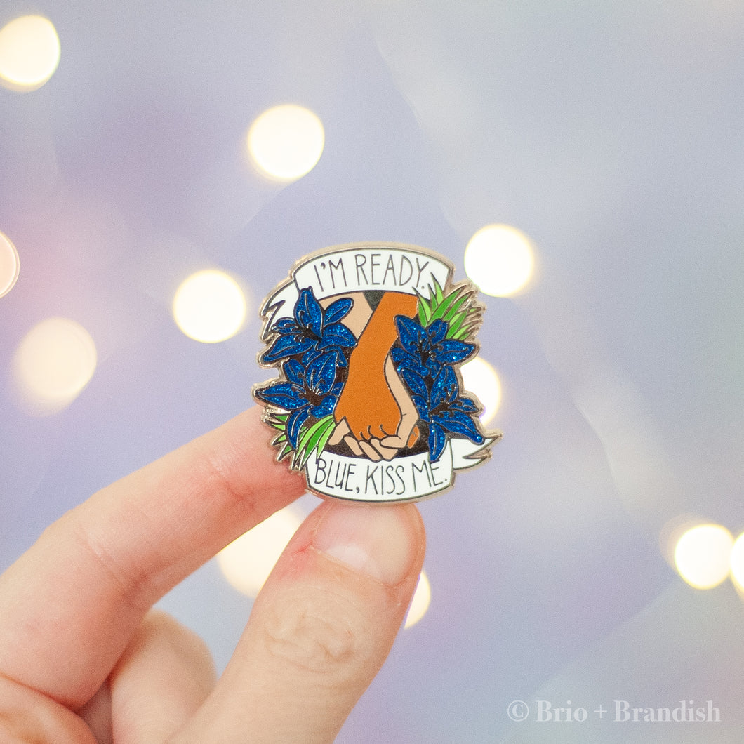 Blue Kiss Me Enamel Pin