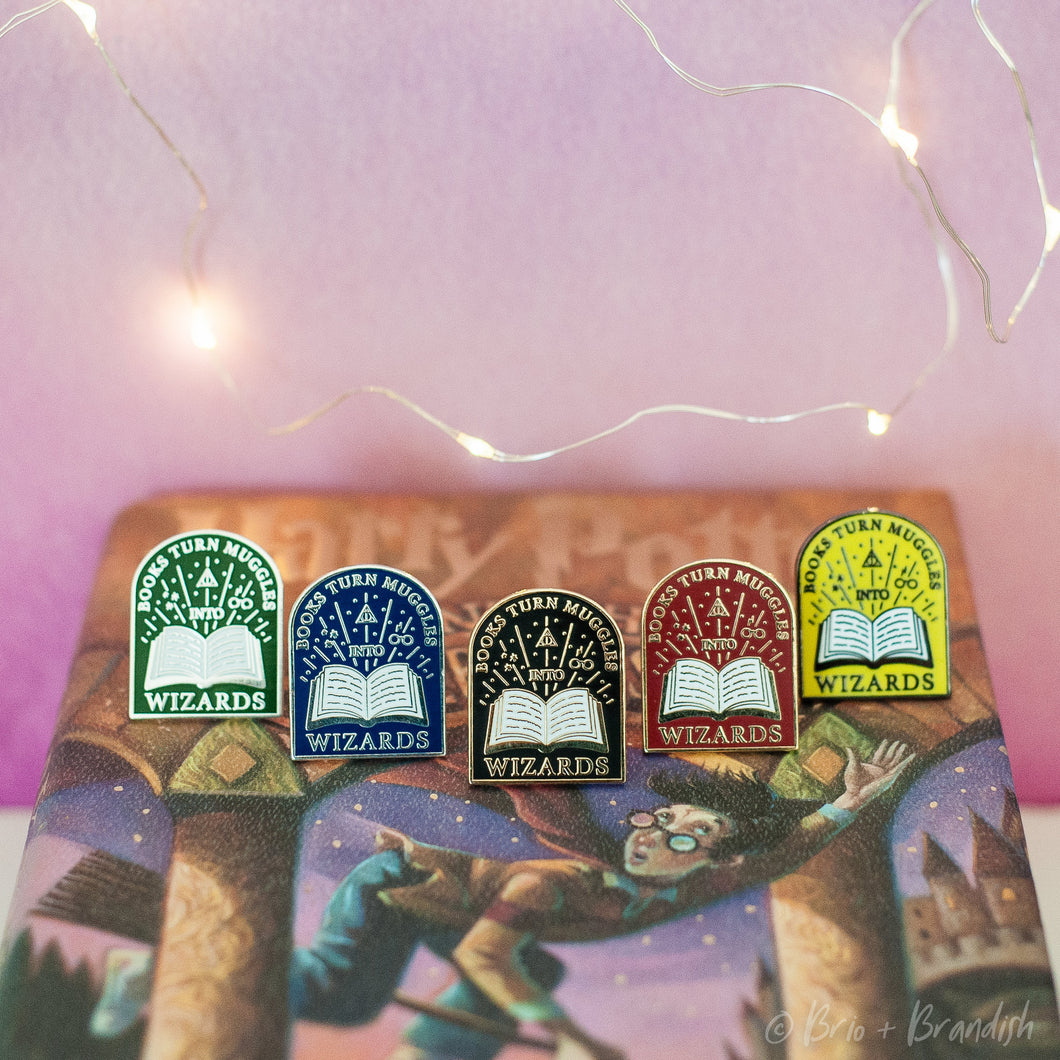 Set of 5 Books Turn Muggles into Wizards Enamel Pins