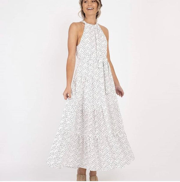 White Cotton Linen Dress With Spots