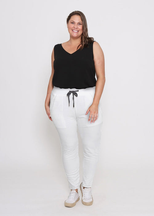 Curves Riley Jogger (White) - Something For Me​​