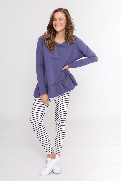 Stripe Lounge Pants (White/Navy) - Something For Me​​