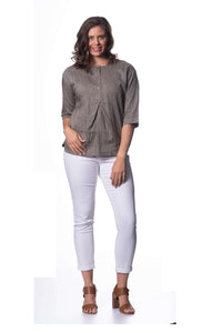 S1816386 - Linen Stripe Top Bay Leaf