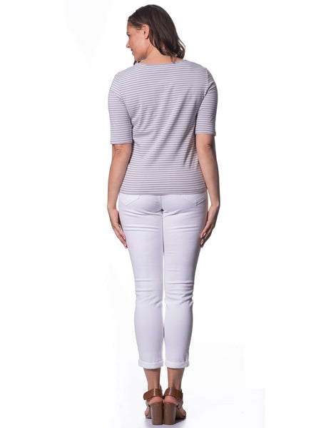 S1818589 - Stretch Cotton 3/4 Sleeve Dove