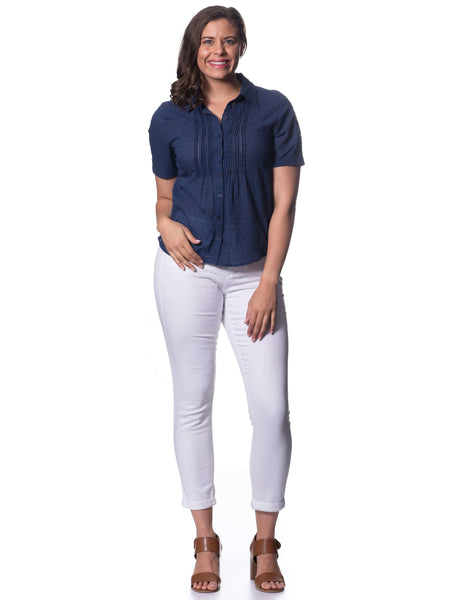 S1826307 - Flocked Spot Voile Top Indigo
