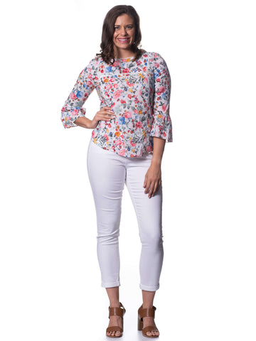 S1826389 - Cotton Voile Long-sleeve Top Summer Roses Print