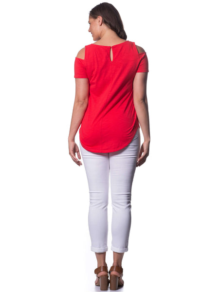 S1828602 - Bamboo Knit Short Sleeve Top Poppy Red