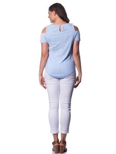 S182602 - Bamboo Knit Short Sleeve Top Sky