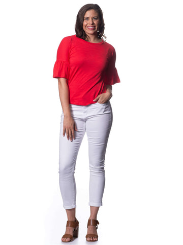 S1828603 - Bamboo Knit Mid Sleeve Top Poppy Red