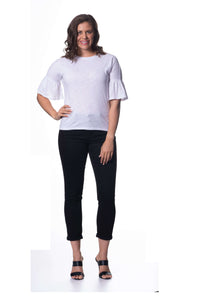S1828603 - Bamboo Knit Mid Sleeve Top White