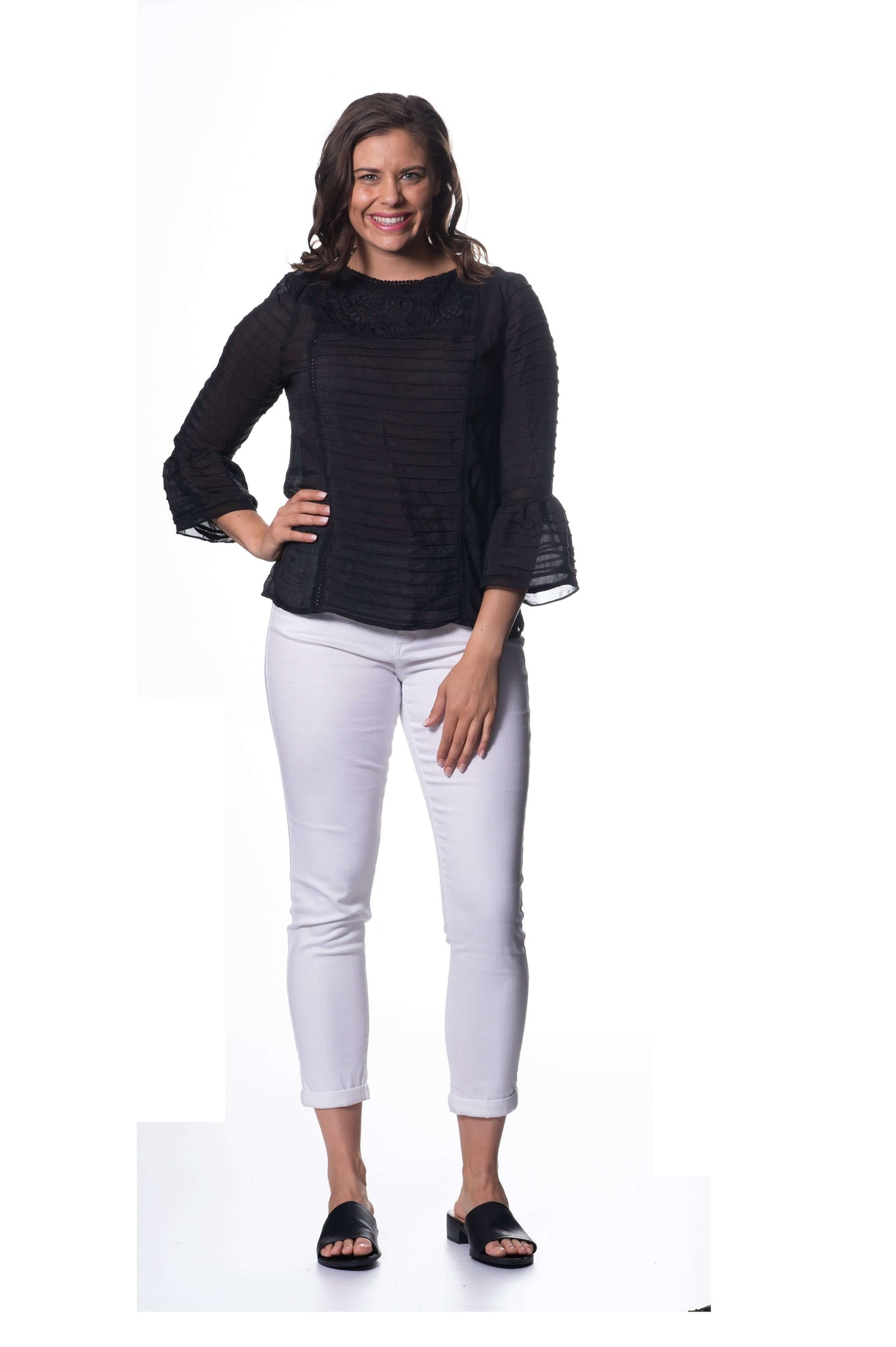 S1836389 - Vicose Crepe Long Sleeve Top Black