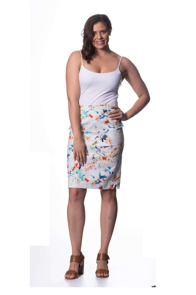 S1855184 - Cotton Spandex Skirt Sky Print