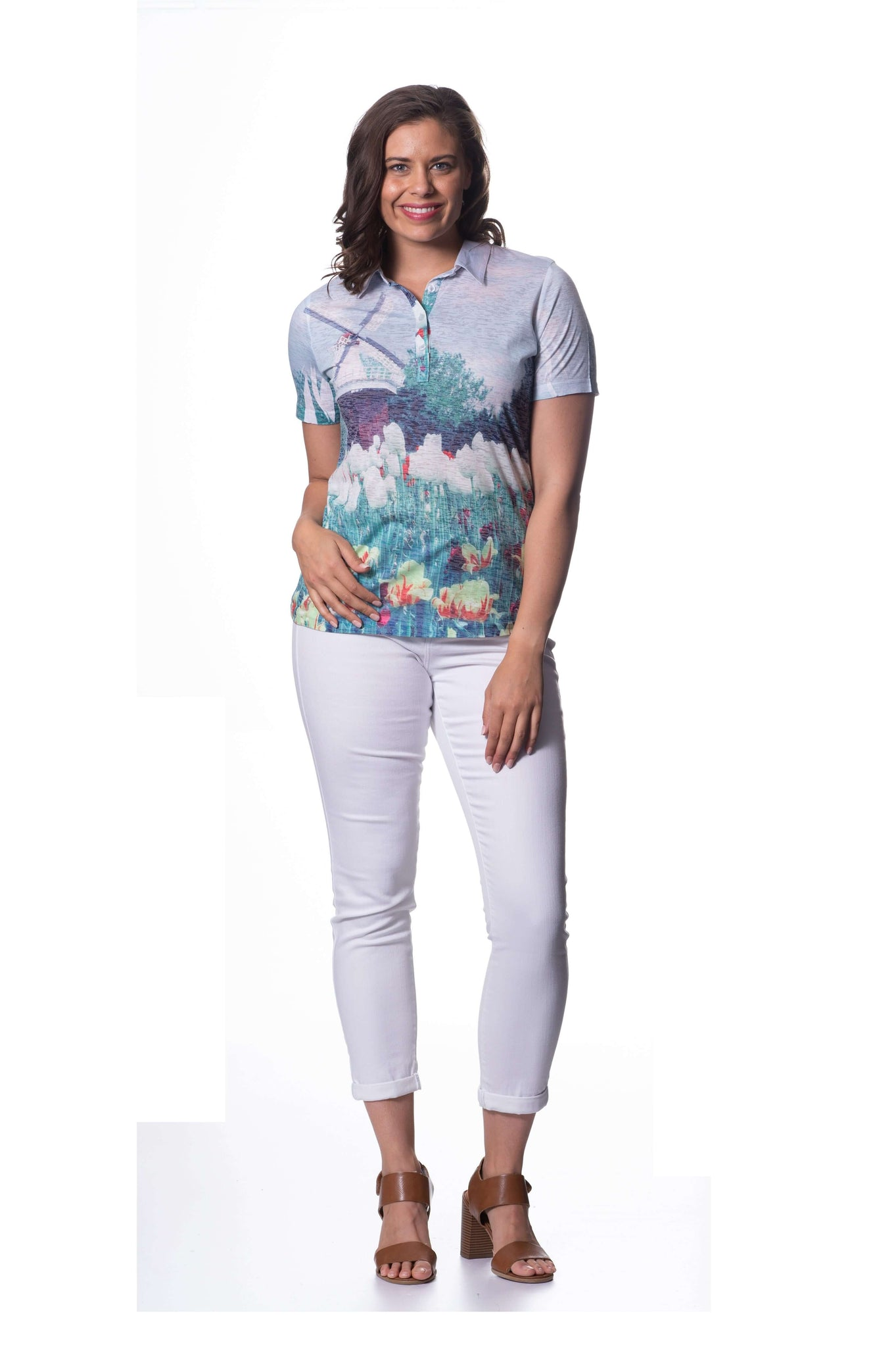 S1858456 - Cotton Burnout Short Sleeve Top Tulip Fields