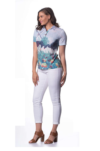 Cotton Burnout Short Sleeve Top - Tulip Fields