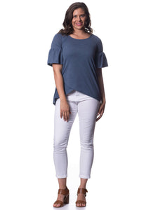 S1858600 - Bamboo Short Sleeve Top Indigo Blue