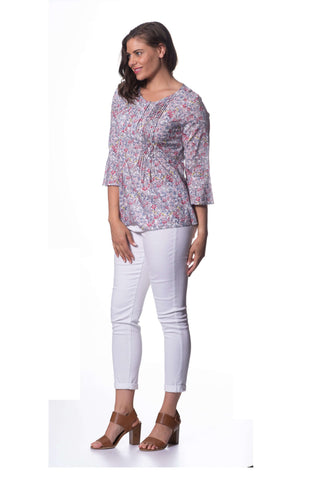 Cotton Voile Long Sleeve Top - Blossom Print