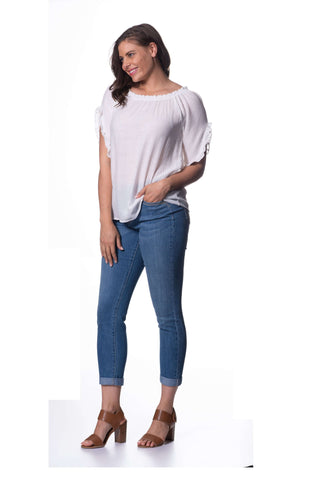 Textured Viscose Mid Sleeve Top - Coconut