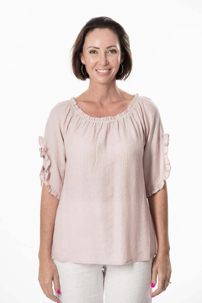 S1866409 - Textured Viscose Mid Sleeve Top Coconut