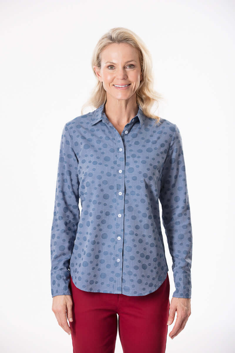 W2016352 - Chambray Spot Blouse
