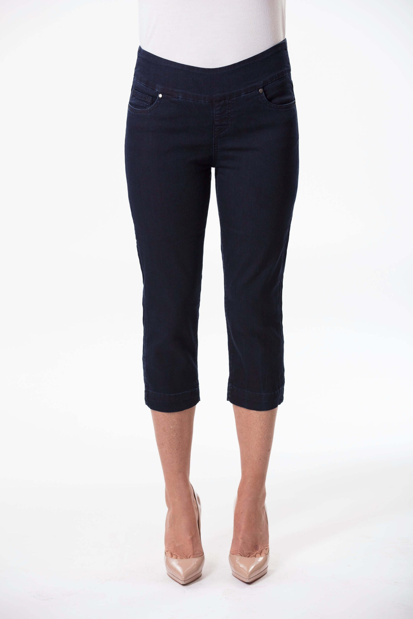 W04B3077 - Super Stretch Crop Denim - Delta Blue Atlantic Wash
