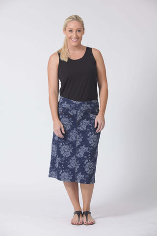 W04B5181 - Jacquard Denim Floral Skirt