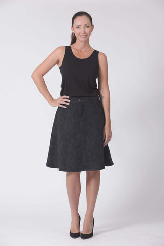 W04B5185 - A-Line Denim Skirt - Deep Ocean