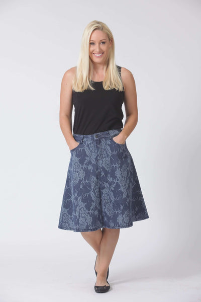 W04B5185 - A-Line Denim Skirt - Lace