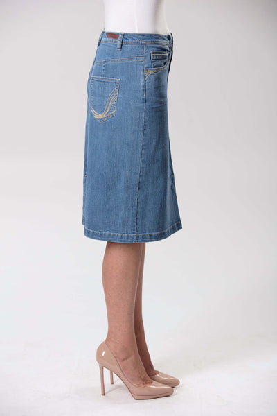 W04B5193 - Lagoon Wash Denim Skirt